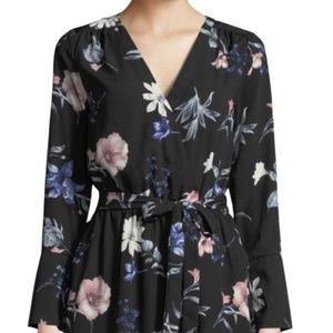 BLACK TAPE V-Neck Long-Sleeve Floral Wrap Dress in